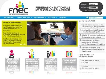 fnec 450 Portobello a créé le site internet de la FNEC (Fédération Nationale des Enseignants de la Conduite).