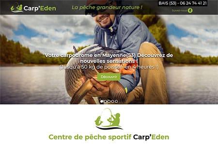 carpeden 450 Le domaine Carp'Eden est  un étang de 5 000 m2,  d'une profondeur de 50 cm a 3 m, situé au Bras d'Or à Bais (53) en Mayenne, peuplé de 1 tonne 500 de Carpes de 1 a 15 kg, avec quelques spécimens de plus de 20 kg. Vous pourrez vous mesurer à des poissons sportifs qui n'ont jamais été pêchés. Pour les amateur de carnassiers vous aurez le plaisir «d'essayer de sortir» des Black Bass, Sandres, grosses Perches, grosses Truites ou des gros Brochets, dont certain dépassent 1 mètre!
