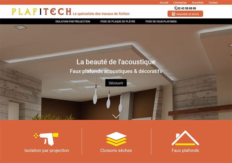 plafitech Plafitech, entreprise de pose de faux-plafonds, de plaques de plâtre et d'isolation par projection pour les professionnels privés et publics et les particuliers à Louverné en Mayenne.